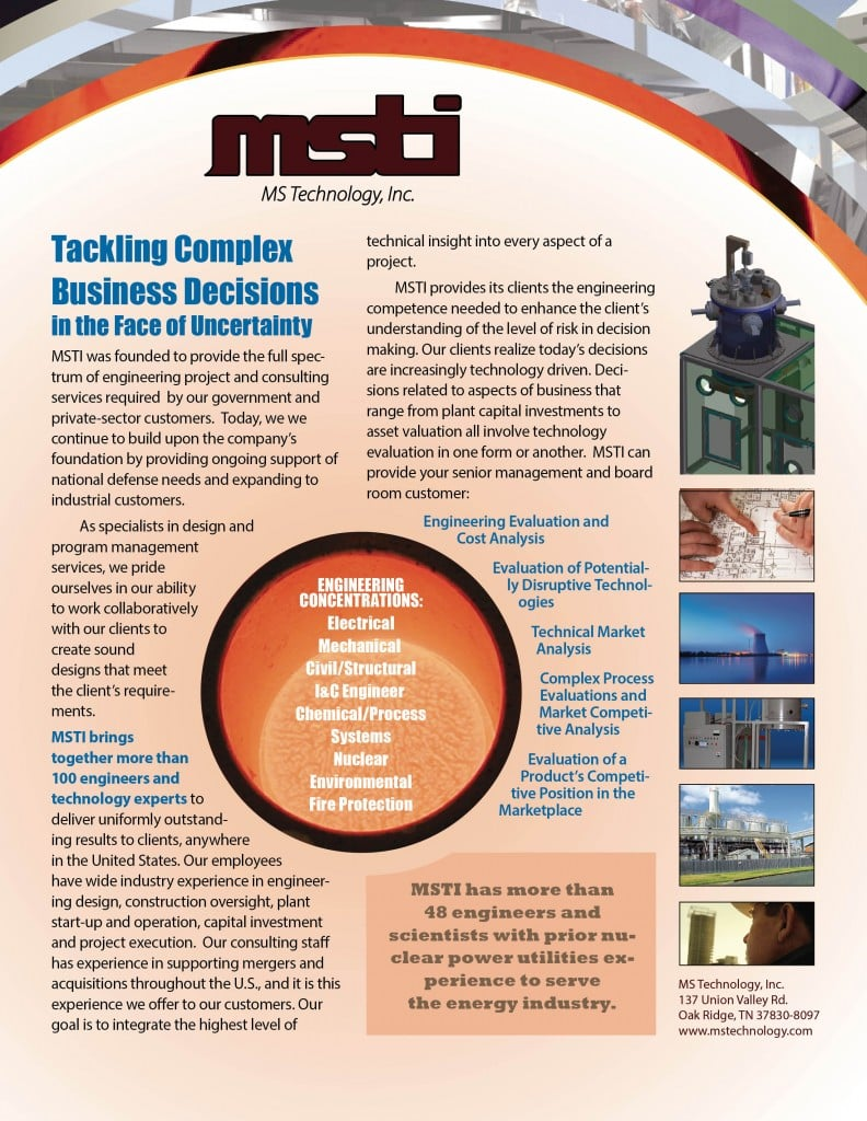 MS Technologies, Inc. - Business development literature for a diverse and highly competitive engineering consulting firm